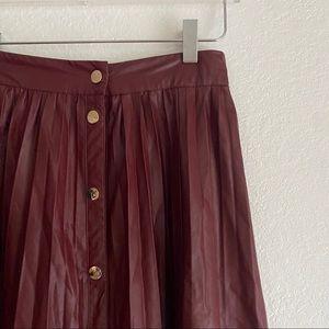 ZARA maroon faux leather pleated midi skirt SMALL
